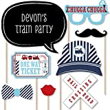 Big Dot of Happiness Custom Railroad Party Crossing - Photo Booth Props - Personalized Steam Train Birthday Party or Baby Shower Party Supplies - 20 Selfie Props