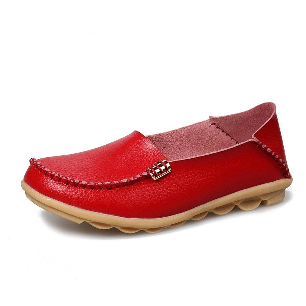 CCZZ Mocassini Donna Scarpe da Guida Scarpe in Pelle Moda Comode Penny Loafers Rosso