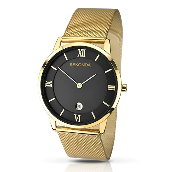 Amazon.com: Sekonda Mens Quartz Watch with Black Dial Analogue Display and Gold Stainless Steel Bracelet 1064.27: Watches