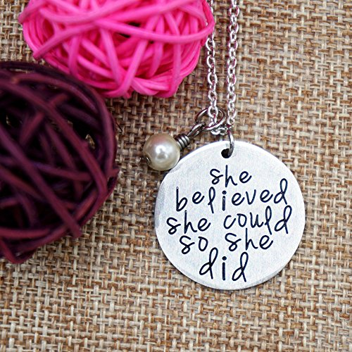ORIYA Stainless Steel She Believed She Could So She Did Necklace Gift For Women girl, Inspirational Necklace