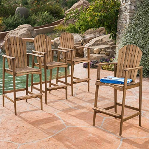 Great Deal Furniture Malibu Outdoor Natural Stained Acacia Wood Adirondack Barstools Set of 4