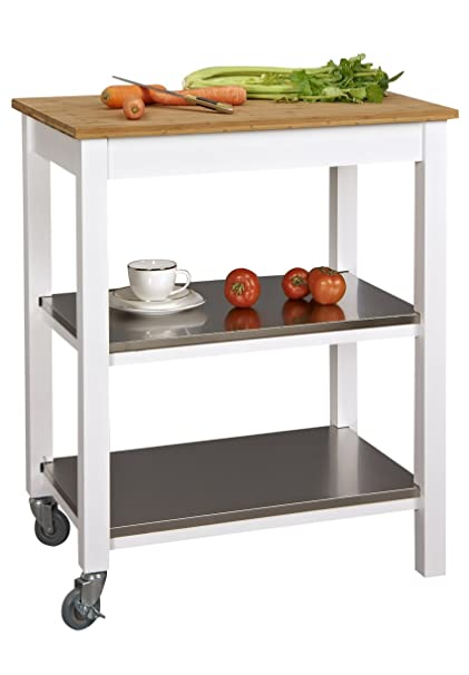 Etonnant Corner Housewares Ultimate Ultra Sturdy Stainless Steel, Bamboo And Wood 3  Shelf Rectangle Rolling Kitchen