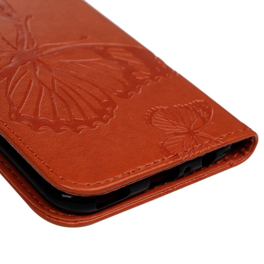 H/ülle f/ür Huawei P Smart 2019 Gepr/ägter Schmetterling Leder Handyh/ülle Klappbares Brieftasche Schutzh/ülle Wallet Case Cover mit Integrierten Kartensteckpl/ätzen Helles Lila Huwei Honor 10 Lite