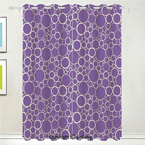 (Mauve Decor Grommet Blackout Window,Abstract Geometric Linked Circles in Many Sizes Fractal Diameter Rings Print,for Bedroom&Living Room&Patio Sliding Doors,2 Panels Set,108 X 63 Inches,Violet White)