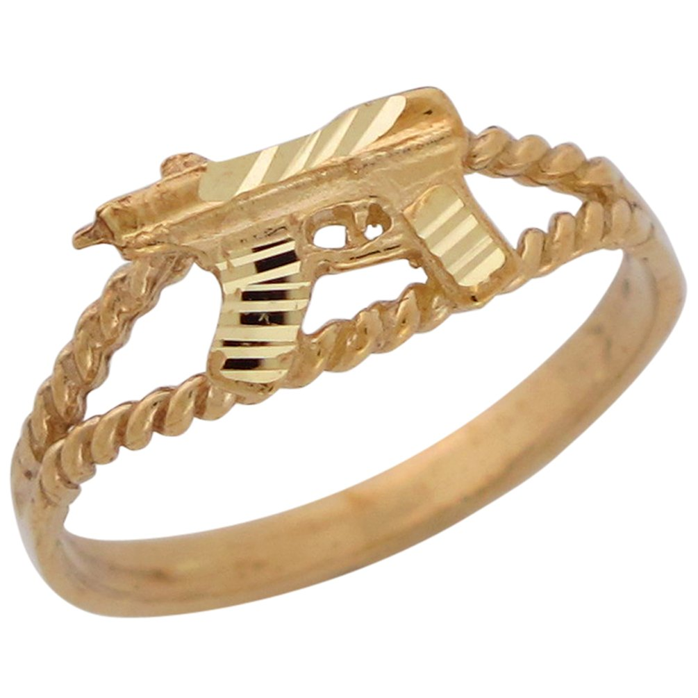 14k Yellow Gold Split Band Light Machine Gun Diamond Cut Bold Statement Ring by Jewelry Liquidation