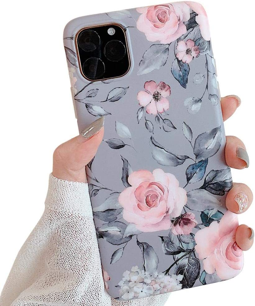 Amazon Com Yelovehaw New Iphone 11 Pro Max Case For Girls Flexible Soft Slim Fit Full Around Protective Cute Phone Case Cover With Purple Floral Gray Leaves Pattern For Iphone 11promax 6 5 Inch Pink