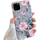 YeLoveHaw New iPhone 11 Pro Max Case for Girls, Flexible Soft Slim Fit Full-Around Protective Cute Phone Case Cover with Purple Floral & Gray Leaves Pattern for iPhone 11ProMax 6.5 Inch(Pink Flowers)