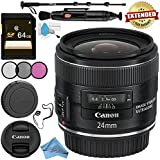 Canon EF 24mm f/2.8 IS USM Lens 5345B002 + 58mm 3 Piece Filter Kit + 64GB SDXC Card + Lens Pen Cleaner + Fibercloth + Lens Capkeeper + Deluxe 70 Monopod + Deluxe Cleaning Kit Bundle