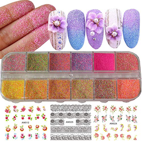 12 Colors Iridescent Nail Art Glitter Powder Pigment Sugar Sandy Dust DIY Nail Art Decoration Pigment Glitters for Nail Art, Festival Crafts, Acrylic Nail, Face Body Cosmetic (Multi-color) ()
