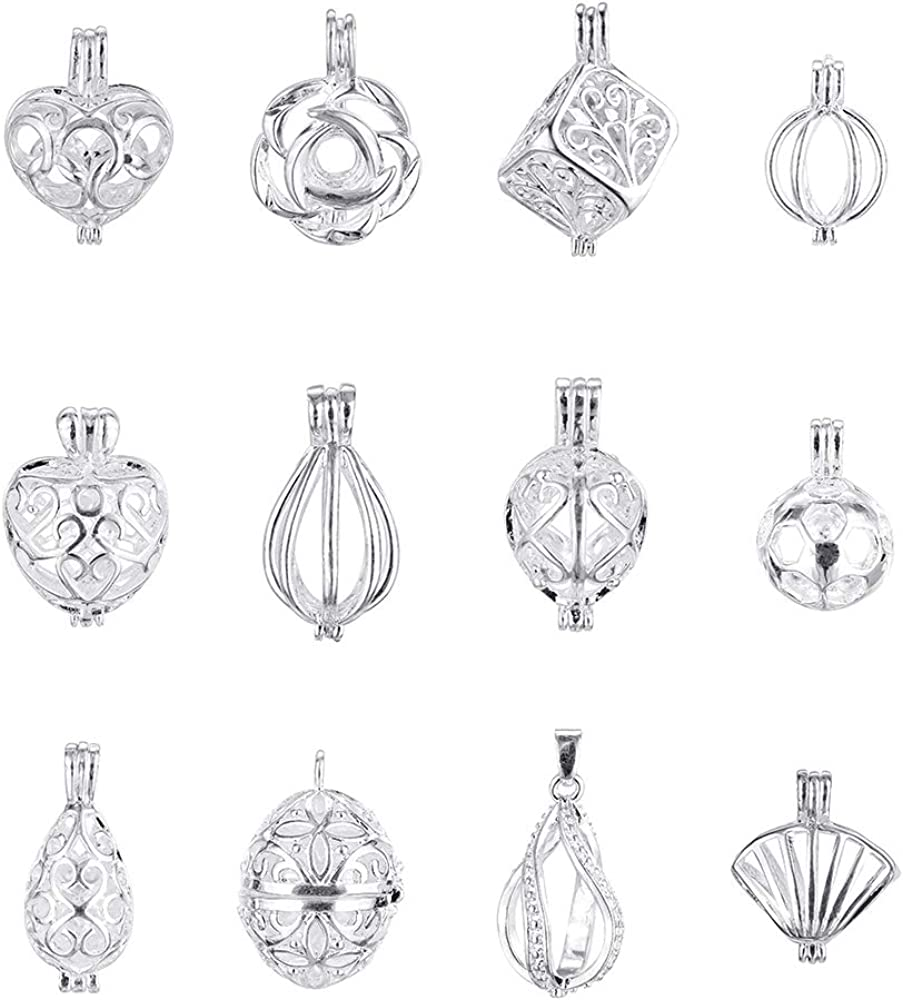 12pcs Silver Plated Pearl Bead Cage Locket Pendants Essential Oil Diffuser Necklace Bracelet With Lava Stone DIY Charms Jewelry Making