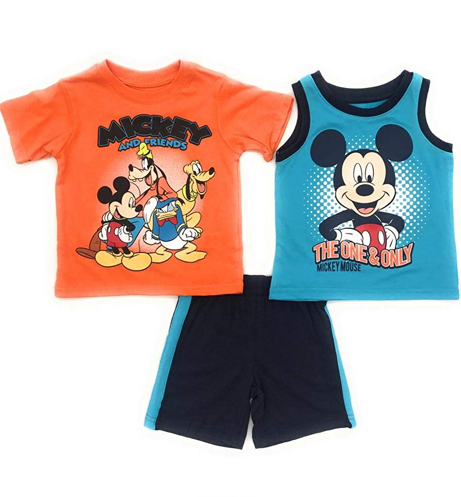 Orange Mickey Mouse Disney and Friends Baby Infant Boys 3-Piece T-Shirt Tank and Short Set Sizes 12-24 Months 12 Months