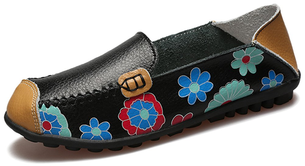 Fangsto Women's Leather Floral Loafers Flats Shoes Slip-ONS US Size 9 STY-1 Black
