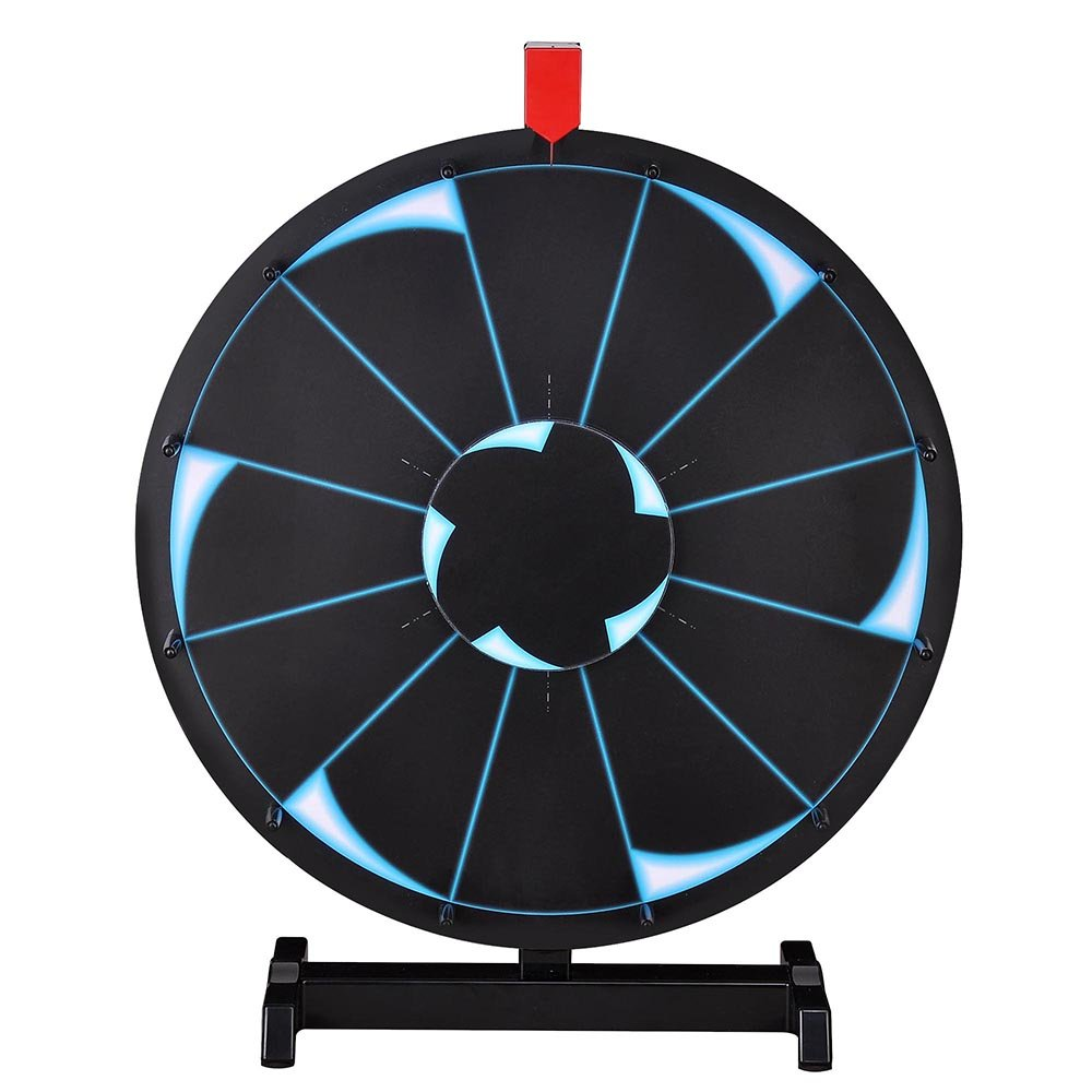WinSpin 18'' Tabletop Editable Prize Wheel 12 Slot Spinning Game with Dry Erase Tradeshow Carnival Black