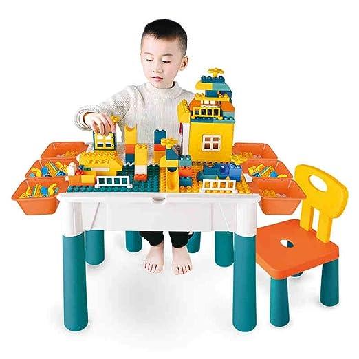 Zxllyntop Mesa de Juego Building Block Mesa De Madera For Niños 3 ...