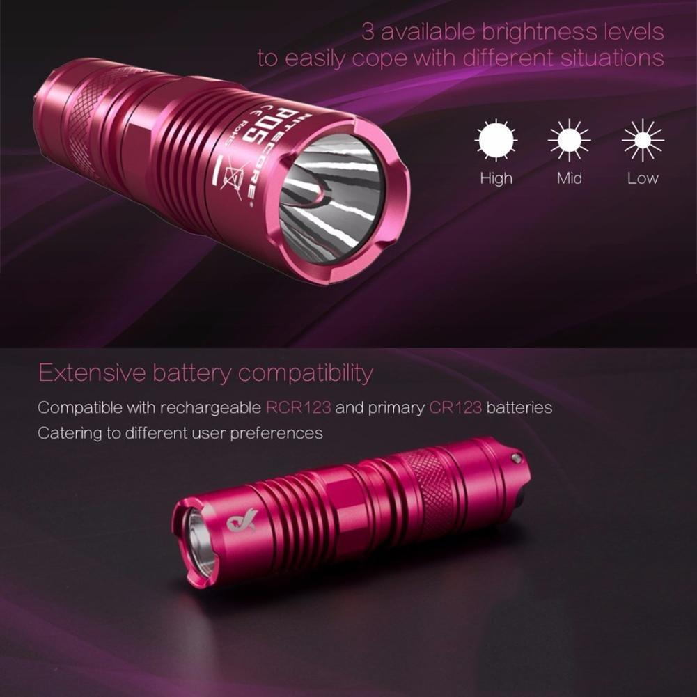 Xintiandi(Nitecore P05, linterna linterna linterna de defensa, color rosa, negro, CR123, batería de 450 lúmenes】 1d3de1