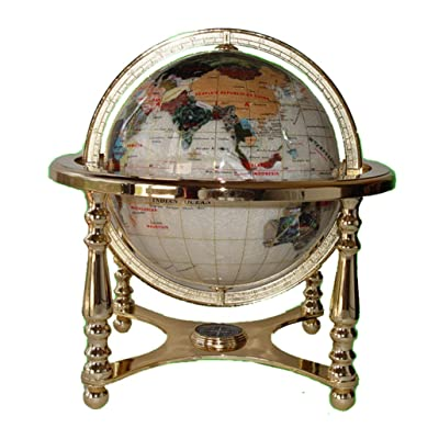 "Unique Art 13"" Tall 9"" Diameter Pearl White Ocean Desktop 4-Leg Gold Stand Gemstone Globe: Home & Kitchen"