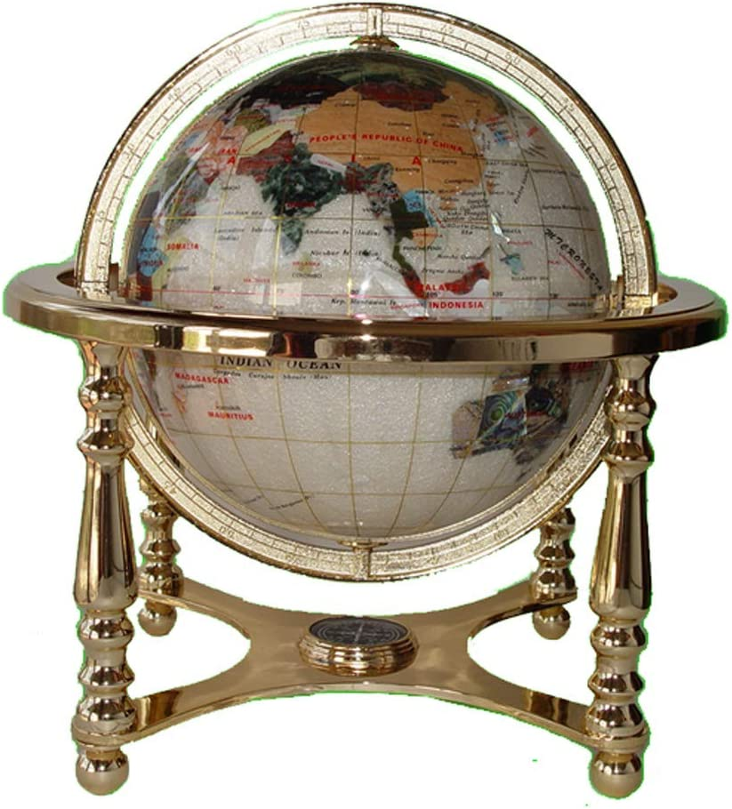 "Unique Art 13"" Tall 9"" Diameter Pearl White Ocean Desktop 4-Leg Gold Stand Gemstone Globe"