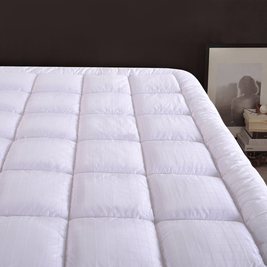 "Cloudream Twin Overfilled Mattress Pad Cover 8-22""Deep Pocket-300TC Snow Down Alternative Pillow Top Mattress Topper"
