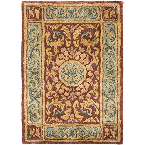Safavieh Empire Collection EM421A Handmade Traditional European Burgundy and Gold Premium Wool Area Rug (2' x 3')