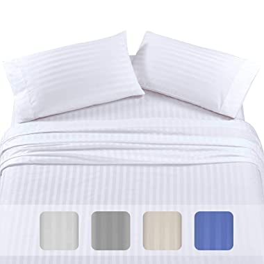 500-Thread-Count Queen Size Cotton Sheets - Premium Quality 4-Piece White Color Dobby Damask Stripe Long-Staple pure 100% Cotton Sheet Set for Bed - Fits Mattress Upto 18'' Deep Pocket, Sateen Weave
