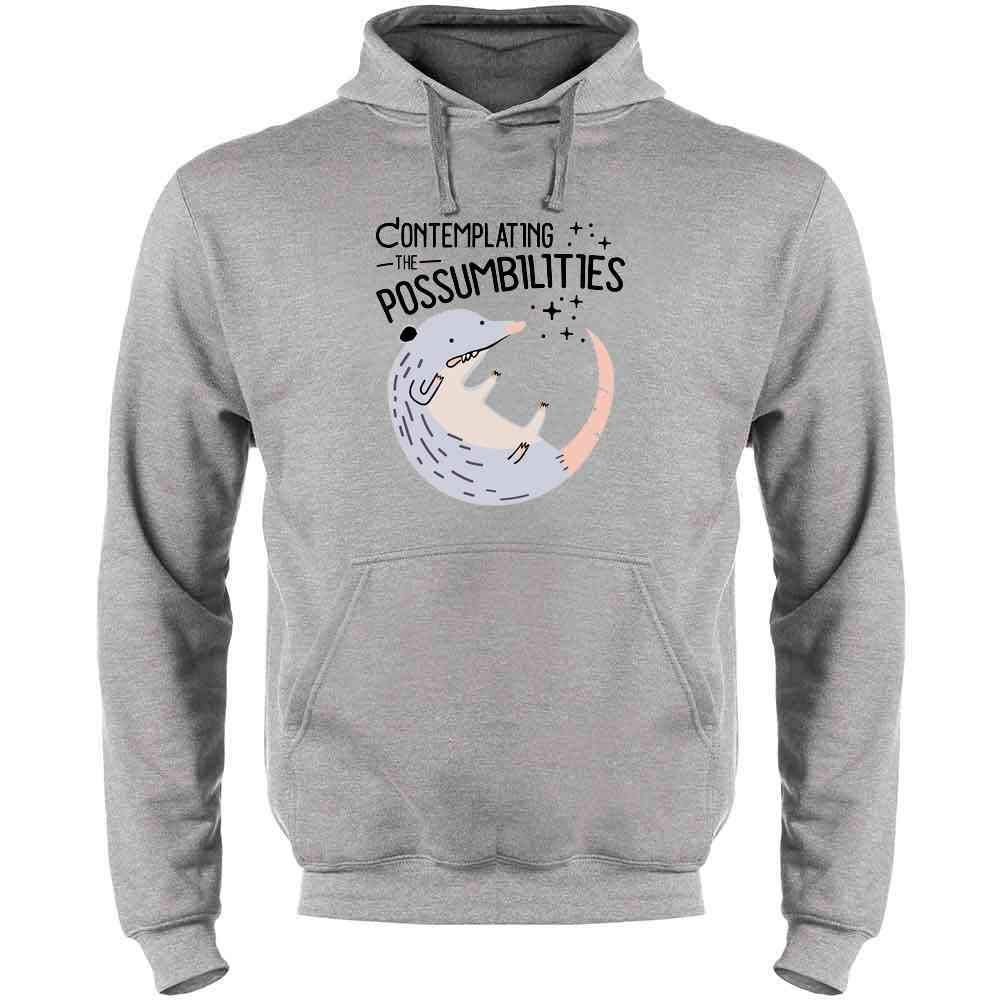 Contemplating The Possum-bilities Funny Animal Pun Mens Fleece Hoodie Sweatshirt