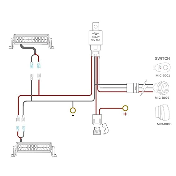 amazon com mictuning led light bar wiring harness fuse 40a relay on rh amazon com