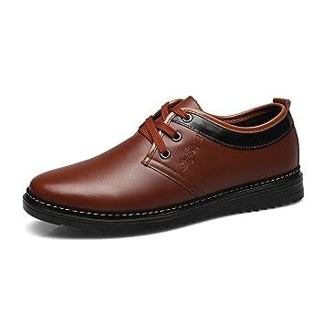 Oxfords con Cordones para Hombre Zapatos de Vestir de Cuero Formal Clásico Clásico del Casquillo del Dedo del Pie Zapatilla de Deporte Plana de La Moda: ...