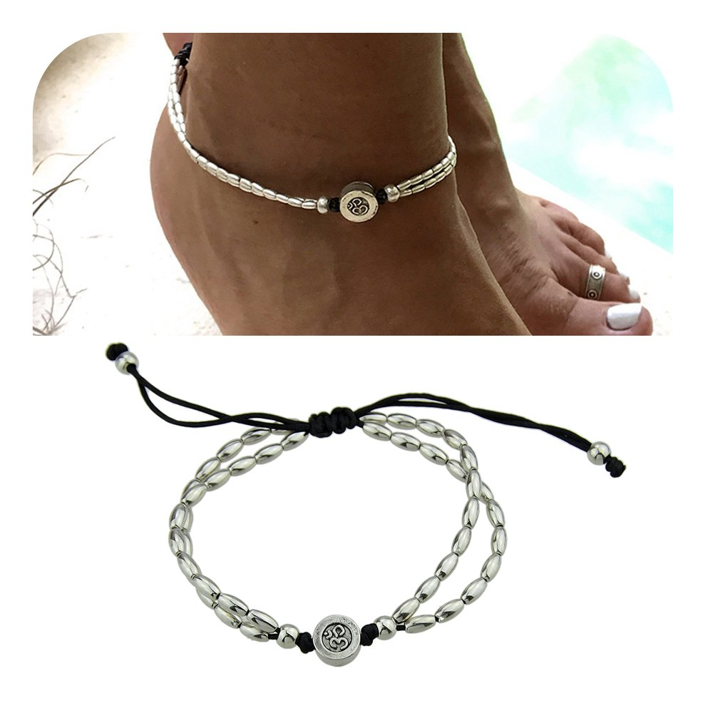 Feelontop® 1Pc Bohemian Style Silver Chain Oval Beads Charm Barefoot Adjustable Anklet with Jewelry Pouch BR-5934