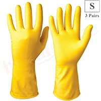 Healthgenie Flocklined Latex Cleaning Reusable Hand Glove (Small, Yellow, 3 Pairs)