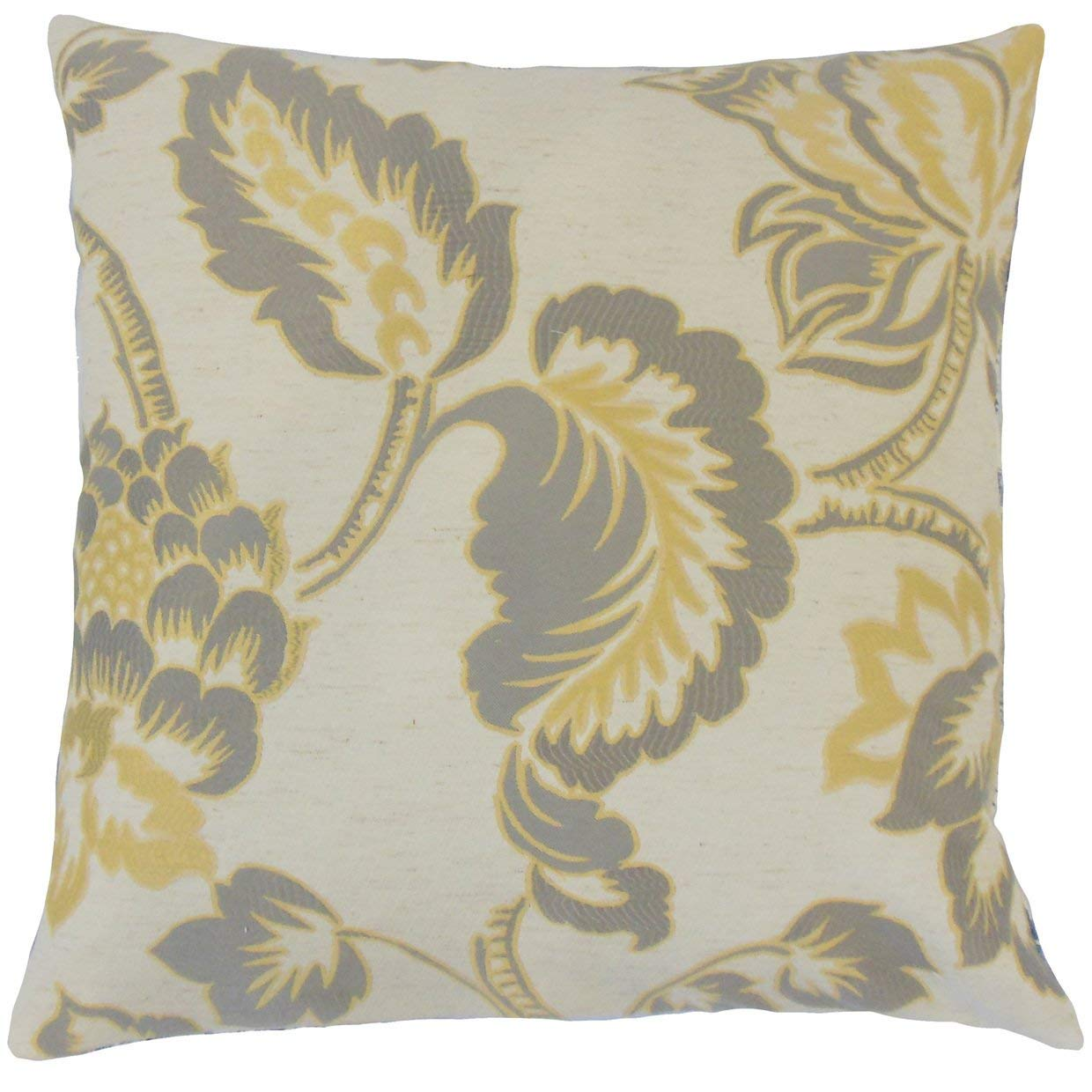 The Pillow Collection Wyldia Floral Lemon Grass Down Filled Throw Pillow