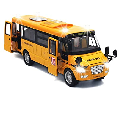 "9"" Pull Back School Bus,Light Up & Sounds Die-cast Metal Toy Vehicles with Bright Yellow and Openable Doors: Toys & Games"