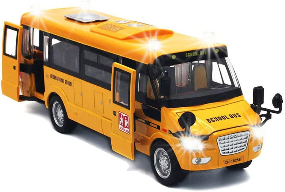 Pull Back School Bus,Light Up & Sounds Die-cast Metal Toy Vehicles with Bright Yellow and Openable Doors
