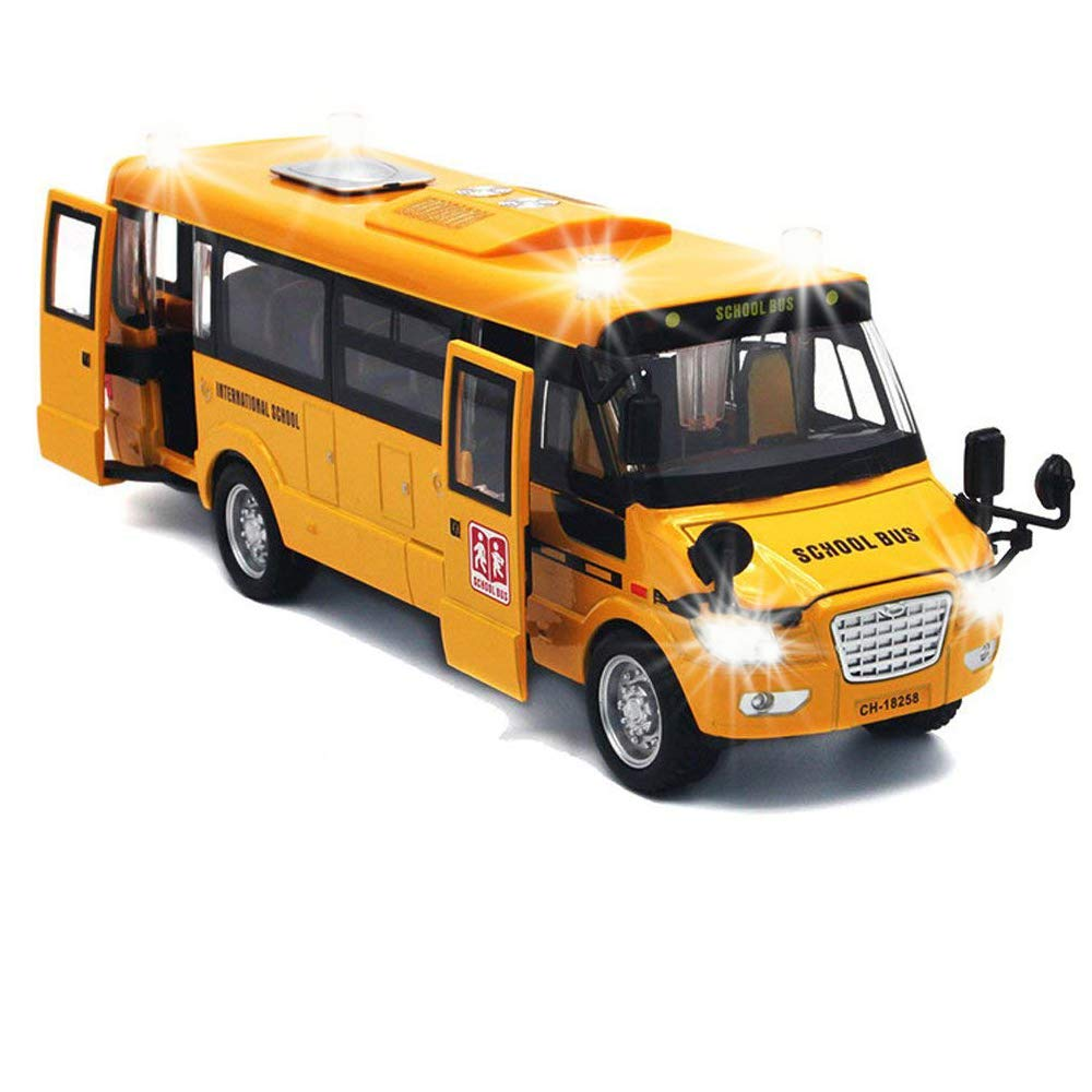 """9"""" Pull Back School Bus,Light Up & Sounds Die-cast Metal Toy Vehicles with Bright Yellow and Openable Doors"""