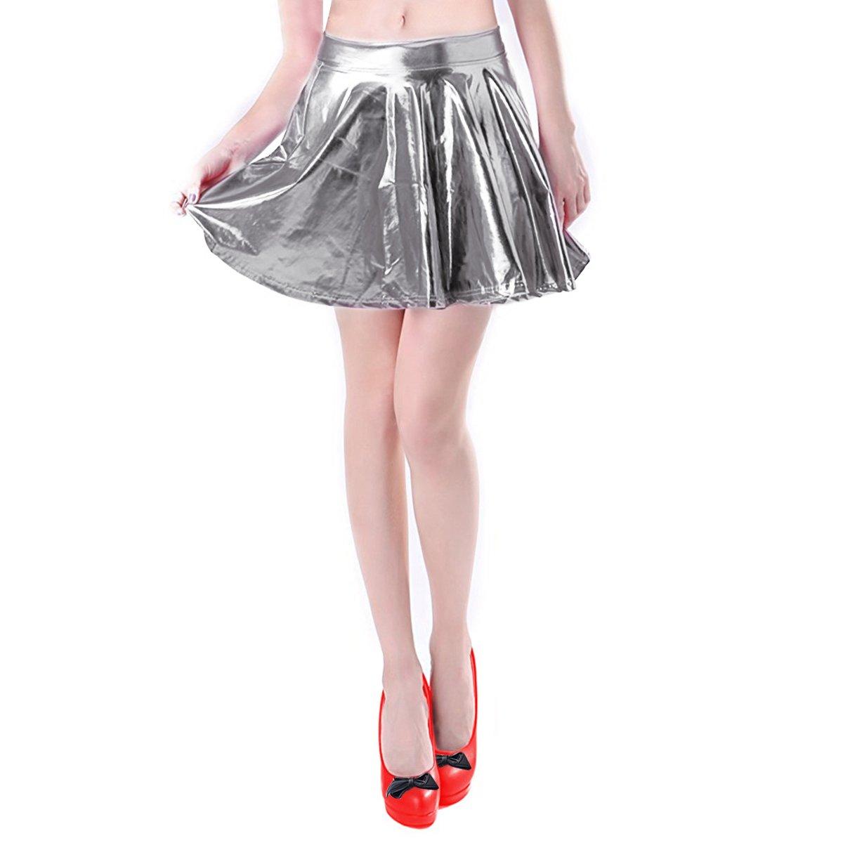 Women's Pleated Skirt Short Shiny Liquid Metallic Flared Skater Skirt Silverm, S