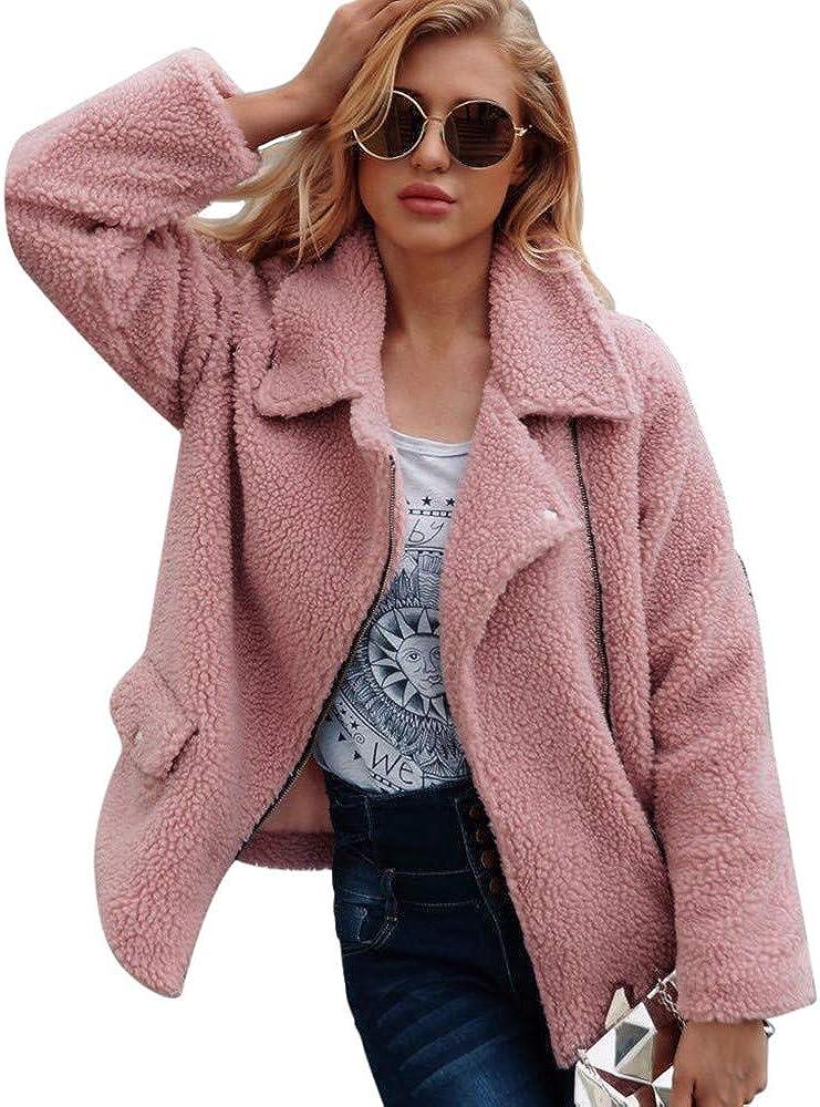 Miuye yuren Womens Fuzzy Fleece Lapel Open Front Long Cardigan Coat Faux Fur Warm Winter Pockets Outwear Jackets