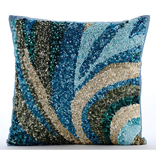 Luxury Light Blue Accent Pillows, Sequins Sea Waves for sale  Delivered anywhere in USA