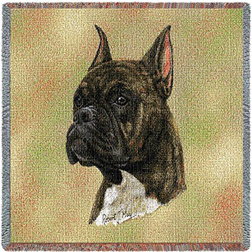 Pure Country 2349-LS Boxer Brindle Pet Blanket, Canine on Beige Background, 54 by 54-Inch (Throw Blanket Boxer)