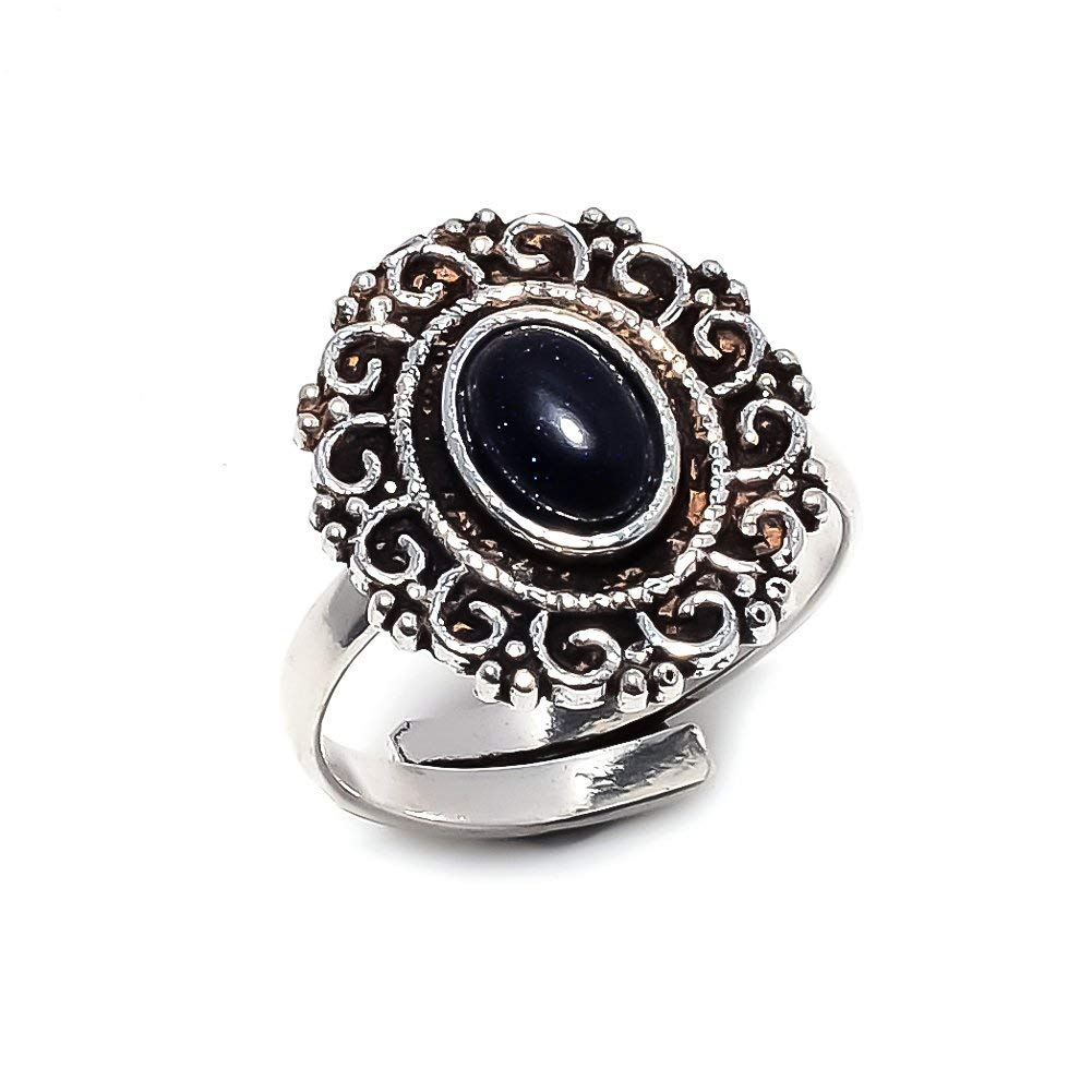 Handmade Jewelry Black Sunstone Silver Plated 4 Grams Ring 6 US Anient Style Sizeable