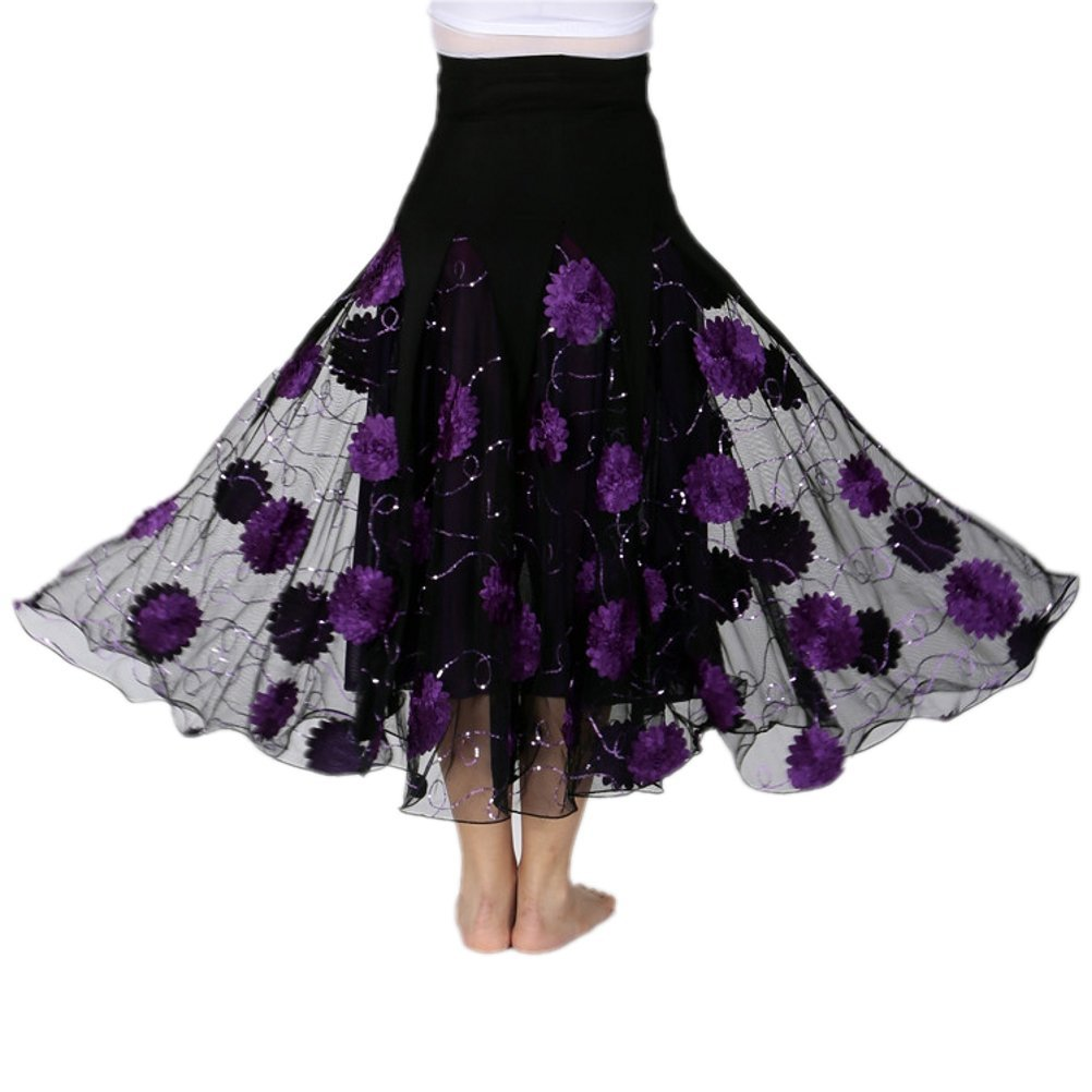 CISMARK Womens Ballroom Dancing Latin Dance Salsa Tango Swing Skirt 002Purple One Size by CISMARK