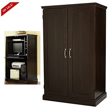 Computer Armoire Cabinet Desk Cherry Home Office Wood Furniture With Doors  U0026 EBook By Easyu0026FunDeals