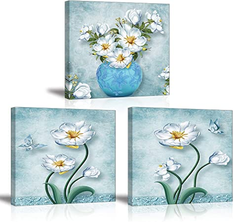 Fiori Bianchi Che Volano.Piy Painting 3x Stampe E Quadri Su Tela Fiori Bianchi Decorazione