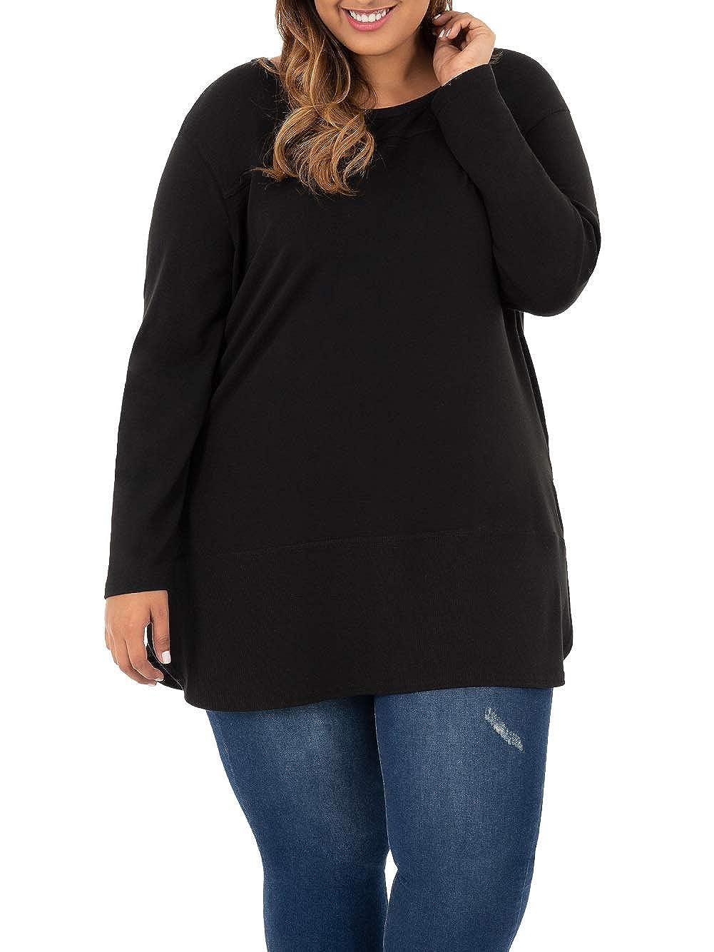 Terra /& Sky Womens Plus Size Mixed Media Tunic