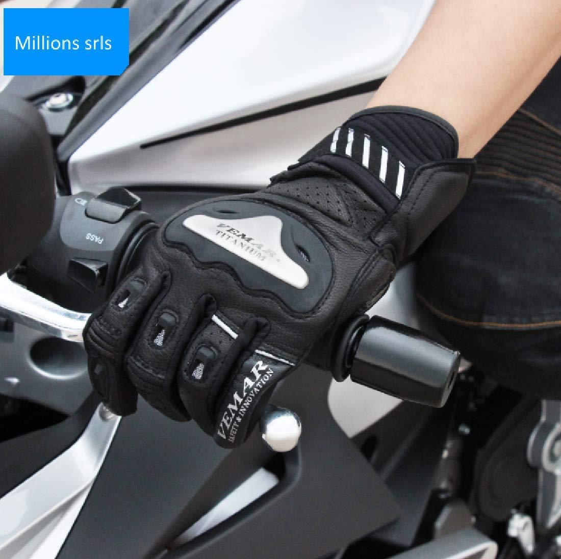 MH96/_Italy Guanti Moto in Pelle Professionali Traspiranti Touch screen da pista viaggio con protezione in carbonio L, Rosso