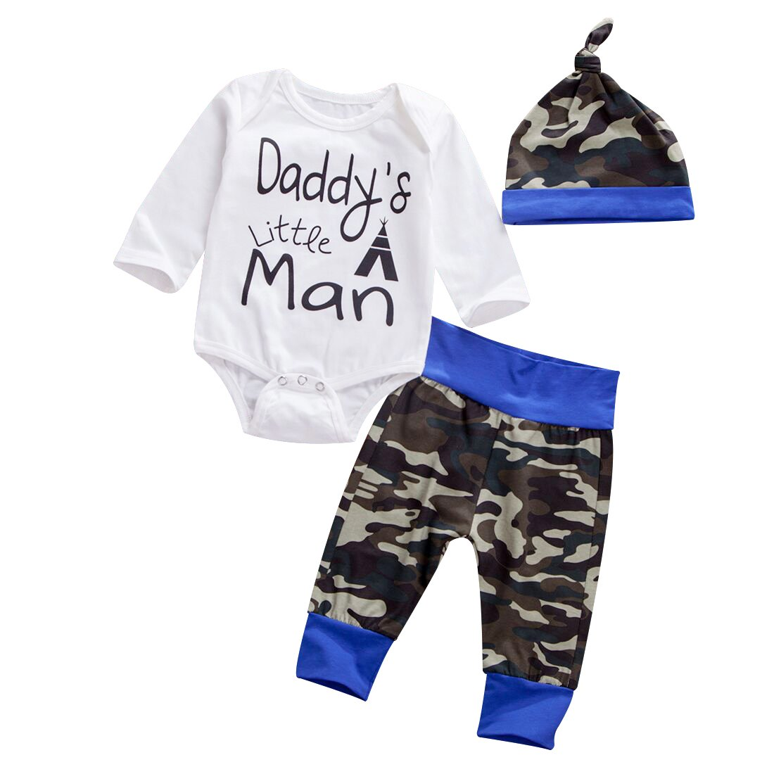 Emmababy Newborn Daddy's Little Man Print Baby Boys Girls Romper +Camo Cotton Long Pants +Hat Outfit