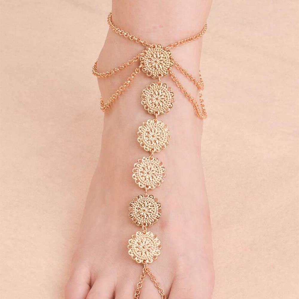 Missgrace Boho Beach Gold Coin Layered Rope Anklet Handmade Foot Jewelry for Women Teen Girls Set of 2