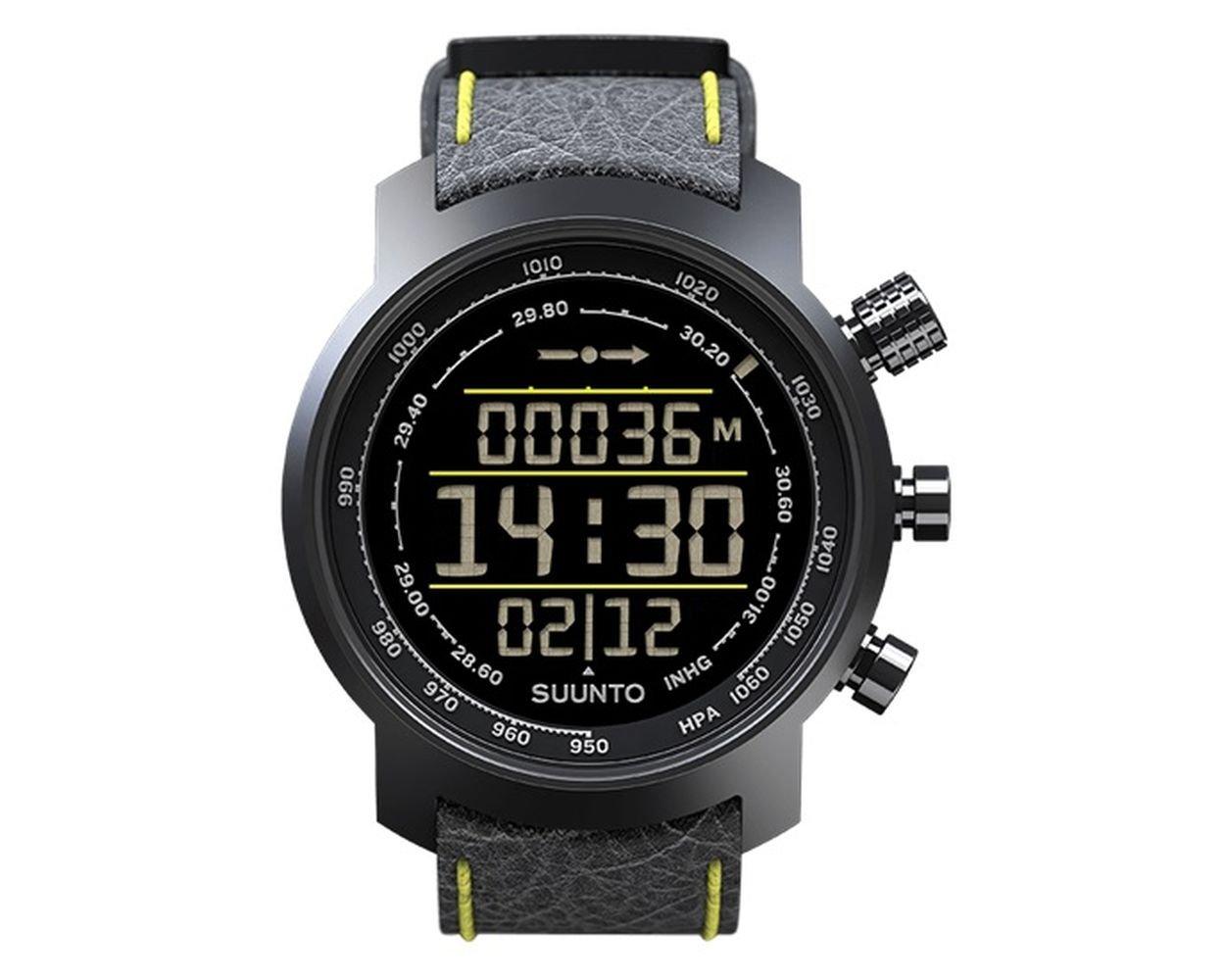 Suunto Elementum Terra Black/Yellow Leather Digital Display Quartz Watch, Black Leather Band, Round 51.5mm Case by Suunto