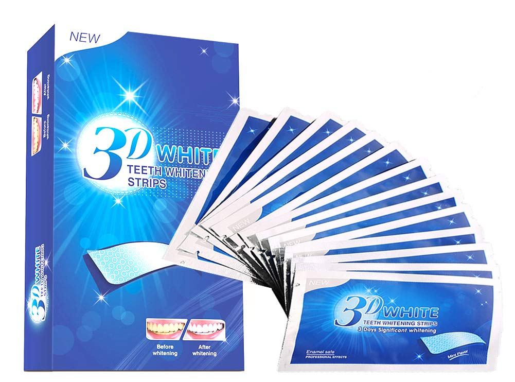 Teeth Whitening Strips, 3D White Whitestrips for Gum Health and Refresh Breath, Dental Whitener Kit Elastic Gels for Teeth Stain Removal - Treatments for Teeth Care 28 pcs