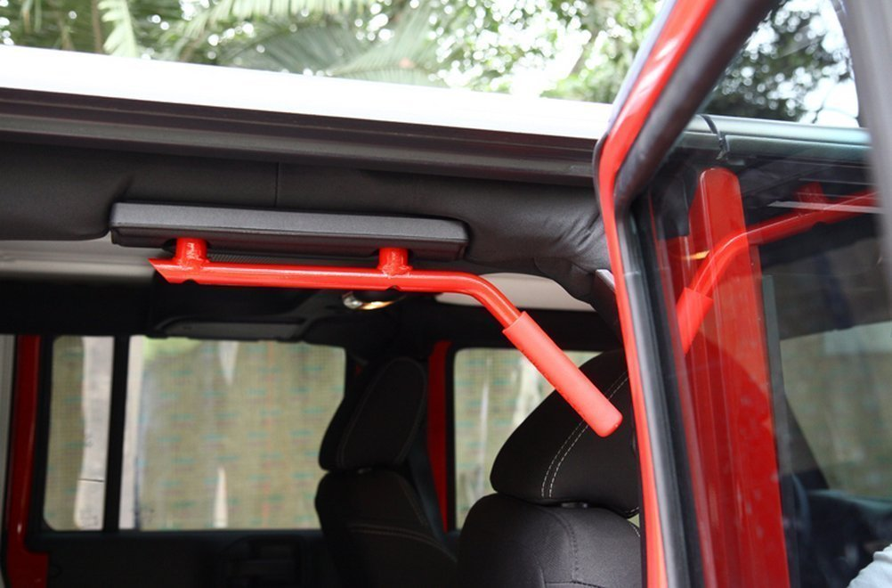 AUXMART 2Pcs Grab Handles Front Grab Bars Hard Solid Steel for 97-06 Jeep Wrangler TJ