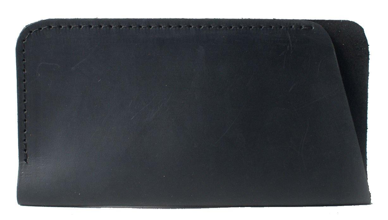 InCarne Simple stylsih leather eyeglasses case soft leather eyeglass holder soft glasses pouch (02007) (Black)
