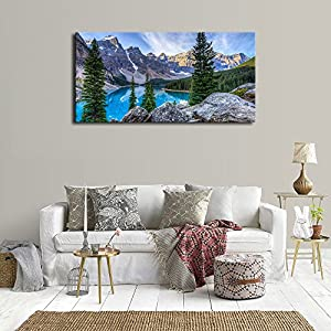 "Canvas Wall Art Mountain and Lake Nature Picture Paintings - Long Canvas Artwork Moraine Lake Glacially Fed Lake in Banff National Park Panoramic Contemporary Art for Home Office Wall Decor 20"" x 40"""